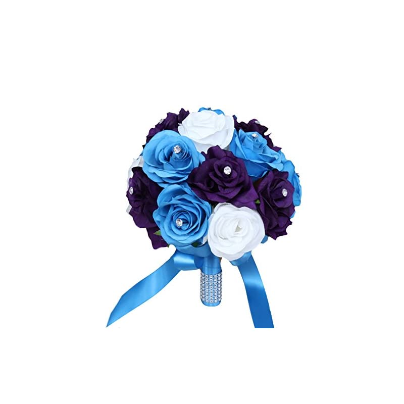 silk flower arrangements angel isabella wedding bouquet -9inch turquoise malibu, purple, and white artificial roses