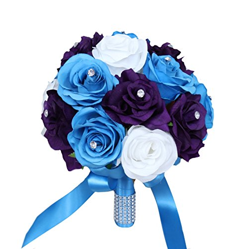 Angel Isabella Wedding Bouquet -9inch Turquoise Malibu, Purple, and White Artificial Roses