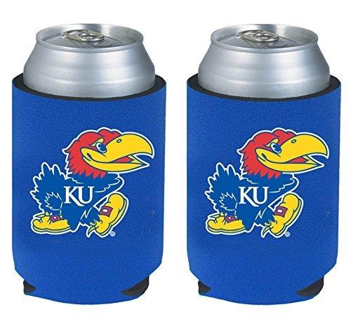 NCAA College 2014 Team Logo Color Can Kaddy Holder Cooler 2-Pack (Kansas (Kansas Tailgate Cooler)