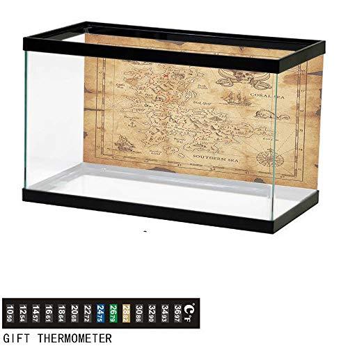 (Jinguizi Island MapFish Tank BackdropSuper Detailed Treasure Map Grungy Rustic Pirates Gold Secret Sea History Theme30 L X 18