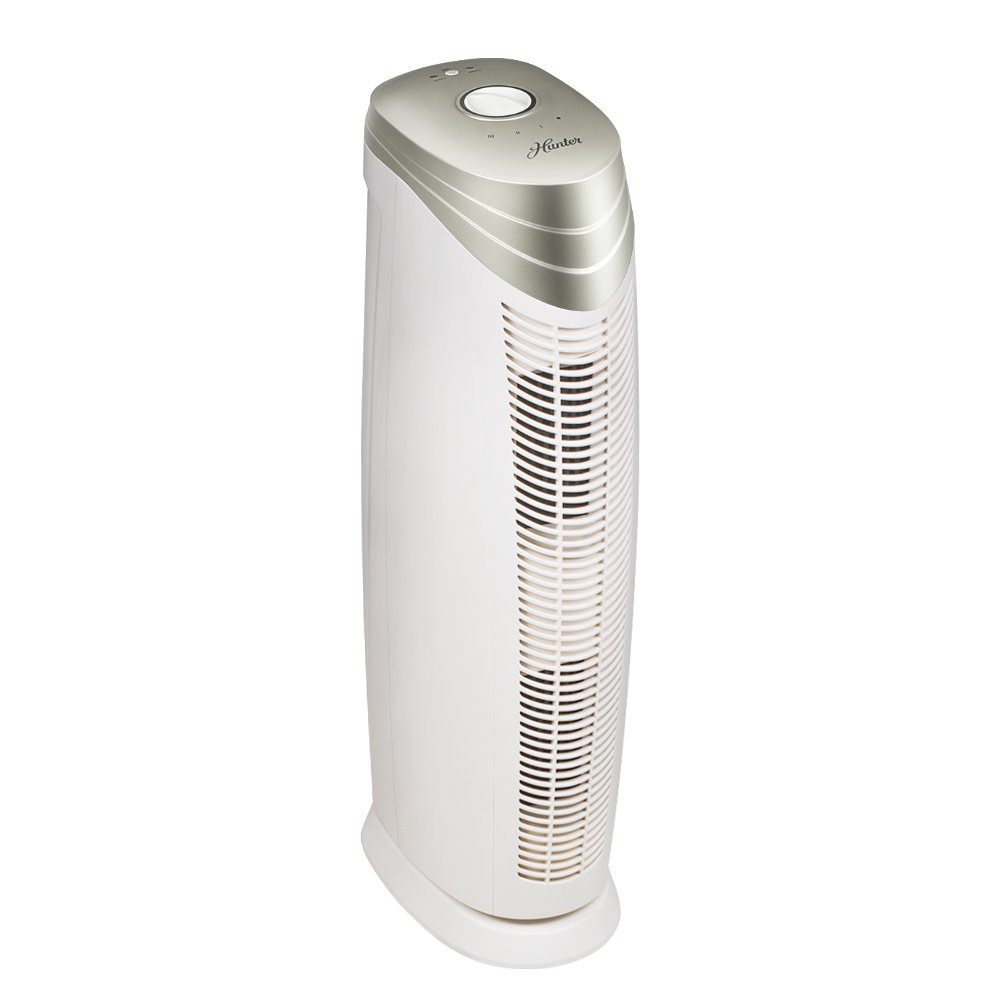 Hunter HT1701 Air Purifier with ViRo-Silver Pre-Filter and HEPA+ Filter for Allergies, Germs, Dust, Pets, Smoke, Pollen, Odors, for Large Rooms, 27-Inch Champagne/White Air Cleaner