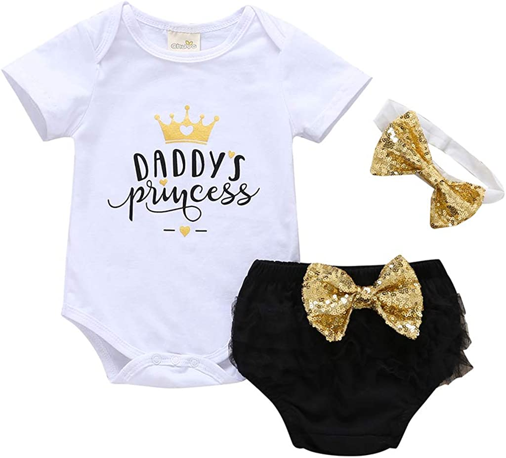 Newborn Baby Girl Summer Clothes Floral Outfit Blessed Romper Tops Ruffle Bloomers Shorts Summer Clothes with Headband