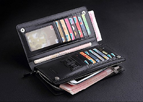 Organizer Card Wallet Brown Cash Bifold Receipt Leather Men Black New Purse Tonsee® Holder wHq0Azfx
