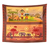 Emvency Tapestry African Everyday Woman Bowl on Head Boy Fruit Home Decor Wall Hanging for Living Room Bedroom Dorm 50x60 Inches
