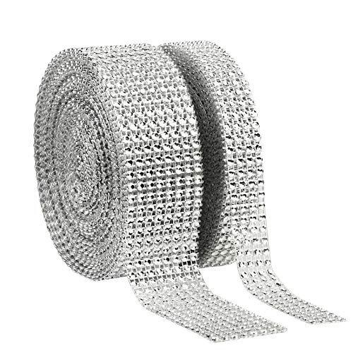 (LANMOK Rhinestone Ribbon 8 Row 10 Yard and 4 Row 10 Yard Acrylic Diamond Ribbon Roll Mesh Wrap for Wedding Cake Vase Centerpiece Party Decoration Art Crafts Projects (Silver))