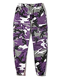 ZLSLZ Unisex Mens Womens Hip Hop Camo Cargo Joggers Pants With Pockets