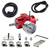 Universal Aluminum Adjustable Fuel Pressure Regulator 0-140 PSI Gauge + Hose Kit Red