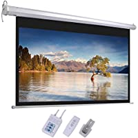 GHP 87x49 Gray Screen Fabric 16:9 Electric Projector Screen with RF Remote Control