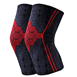 Knee Support Sleeves 2 Pack for Joint Pain and Arthritis Relief, Improved Circulation Compression – Effective Support for Running, Jogging,Workout, Walking, Hiking and Recovery