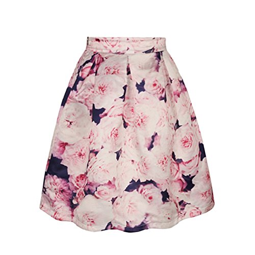 ABCHIC Women's/Big Girls' Floral Flared Pleated Skater Skirt Knee Length Fit For Over 14 Years Old