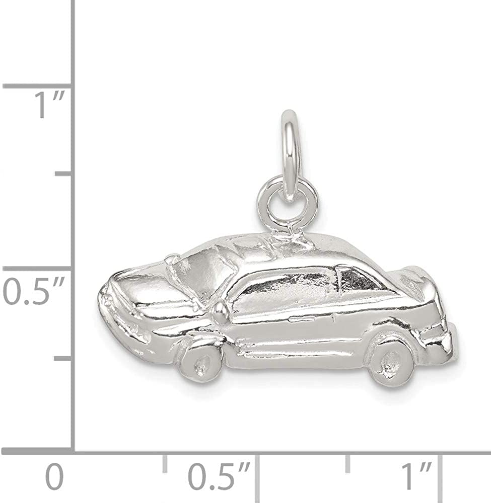 14mm x 25mm Solid 925 Sterling Silver Pendant Car Charm