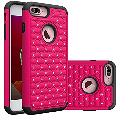iPhone 7 Plus Case, Betty Shop 2in1 Slim Thin Cute Bumper PC+Silicone Rubber Diamond [Full-body Shockproof] Protective Back Cover Resistant Armor Defender for iPhone 7 Plus 5.5 (Iphone 5s Cute Case Otterbox)