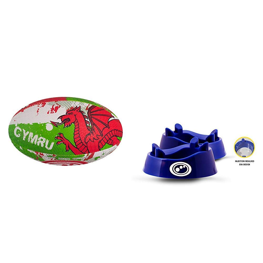 One Size Wales Optimum Nations Rugby Ball Blue Size 4 with Optimum Rugby Standard Kicking Tee