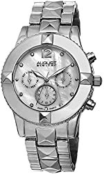 August Steiner Women's AS8107SS Swiss Quartz Multifunction Crystal Mother-of-Pearl Silver-tone Pyramid Bracelet Watch