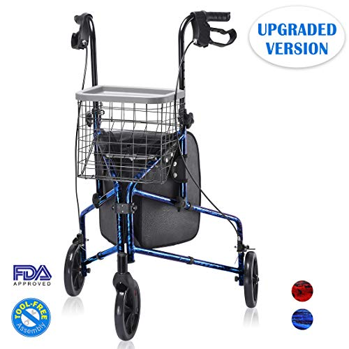 (Upgraded Version ! Health Line Lite Folding 3 Wheel Aluminum Rollator Walker Lightweight with Bag and Basket, Flame Blue)