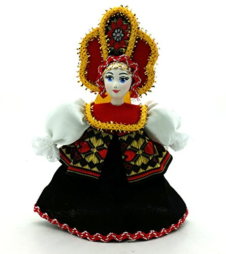 (CHRISTMAS Tree Ornament Russian Doll in traditional folk costume with porcelain hand painted face)