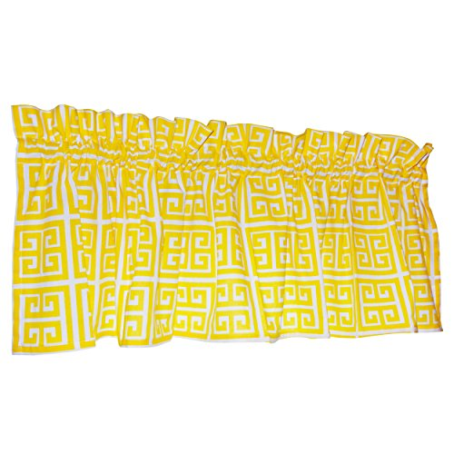 The Crabtree Collection Patterned Window Valance - 16-Inch x 60-Inch - Greek Key Dandelion Yellow