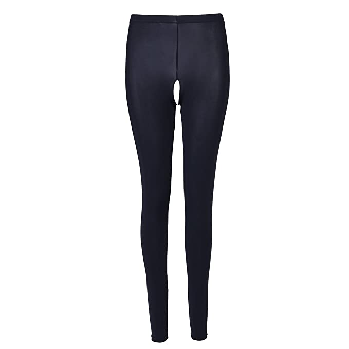 3d0b971c99ea2 CHICTRY Women's High Waist Open Crotch Leggings Skinny Pants Lingerie Black  Two Large