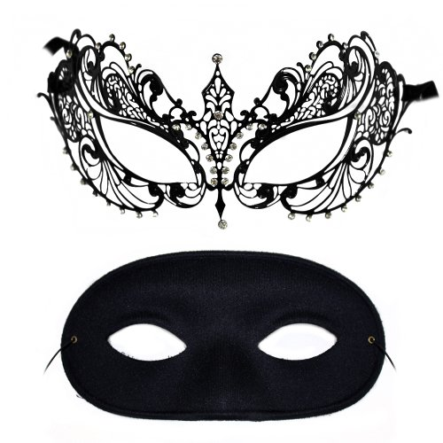 Corrine-Domino Laser-Cut Metal and Classic Masquerade Mask for a (Domino Fancy Dress Costumes)