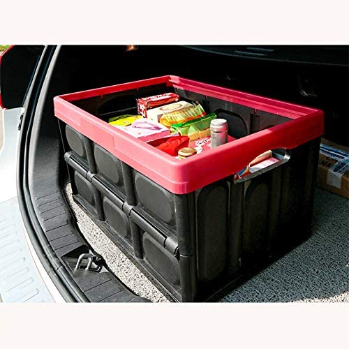 30L 55L Foldable Plastic Car Storage Box Stackable Utility Crates with Lid