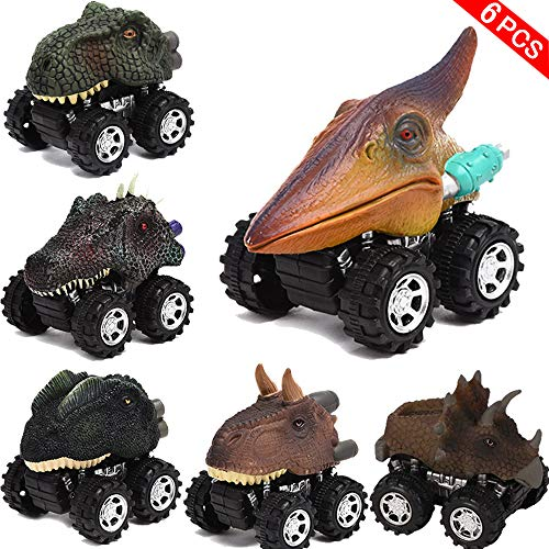QLkirin Mini Pull Back Animal Car Toy for Toddlers Boys Girls Pull Back Dinosaur 6 Pack Pull Back Dinosaur Vehicle Set Creative Gifts - Electric Animal Toy