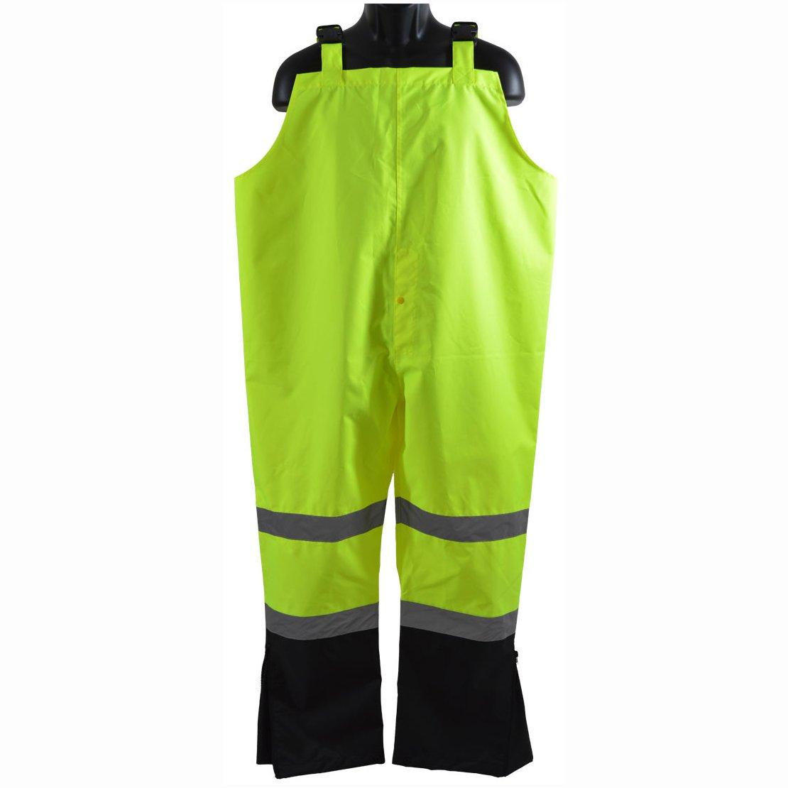 Petra Roc LBBIP-CE-5X Bib Rain Pants ANSI Class E Two Tone Lime/Black 300D Oxford/PU Coating Waterproof, 5X