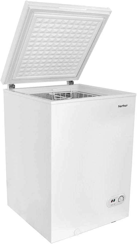 Northair Chest Freezer 3.5 Cubic Feet with Removable Basket, Free-Standing Top Door Freezers 6.8℉ to -4℉ with Adjustable Temperature Control/Defrost Water Drain/Power-saving