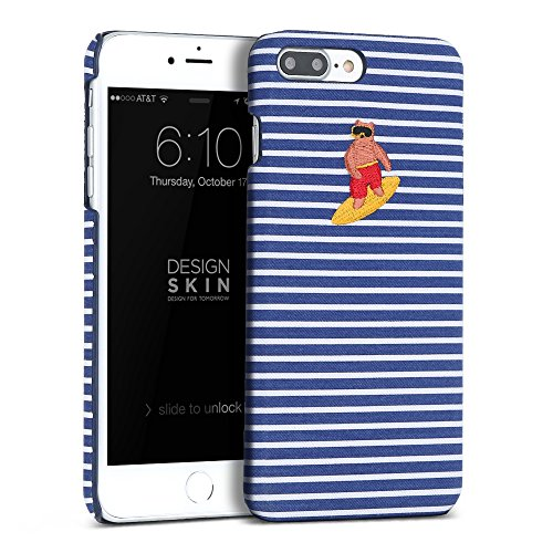 iPhone 7 Plus/iPhone 8 Plus Case, DesignSkin [ALOHA BEAR] Embroidery Stripe Fabric Slim Thin Fit Lightweight Non-Slip Grip Cute Unique Fashion Hawaii Surf Board Design Character Hard Cover (Blue) (Case Embroidery)
