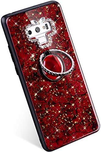 Ysimee Flip Hülle Kompatibel mit Samsung Galaxy Note 9 Hardcase, Glitzer Diamant Schutzhülle mit Ring Kickstand, Ultra Dünn PC Schale mit TPU Bumper Kratzfest Anti Rutsch Hülle, Grün