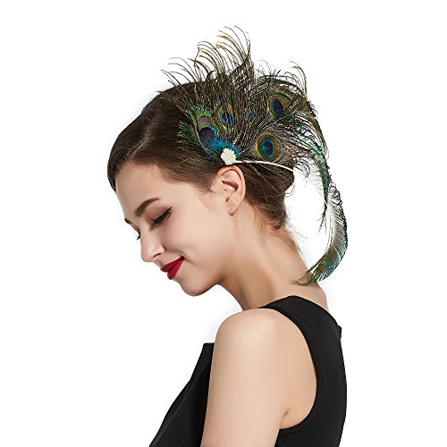 [Zivyes 1920s Women's Pearl & Peacock Feather Flapper Accessory for Bride Feather Hairclip(A)] (Elegant Bride Costumes)