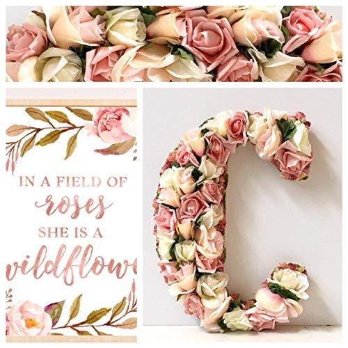 Cheap Large Flower Letter, Made with Artificial Silk Flowers on wood base,13.5″, 18″, 23″, Hanging