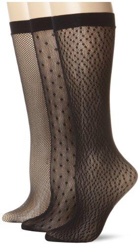 Nine West Women's 3 Pack Basic Dot and Grid Trouser Socks, Black/Black/Black, One Size