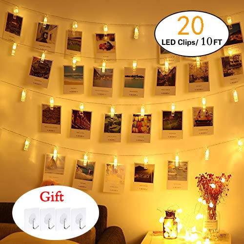 Zedoli Waterproof 20 LED Photo Clips String Lights, Battery Powered,String Lights for Indoor/Outdoor Decorate,String Lights with Photo Clips for Hanging Pictures,Cards and Artwork(10 Ft,Warm White)