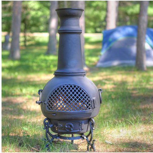 Blue Rooster Gatsby Style Wood Burning Outdoor Metal Chiminea Fireplace Charcoal Color