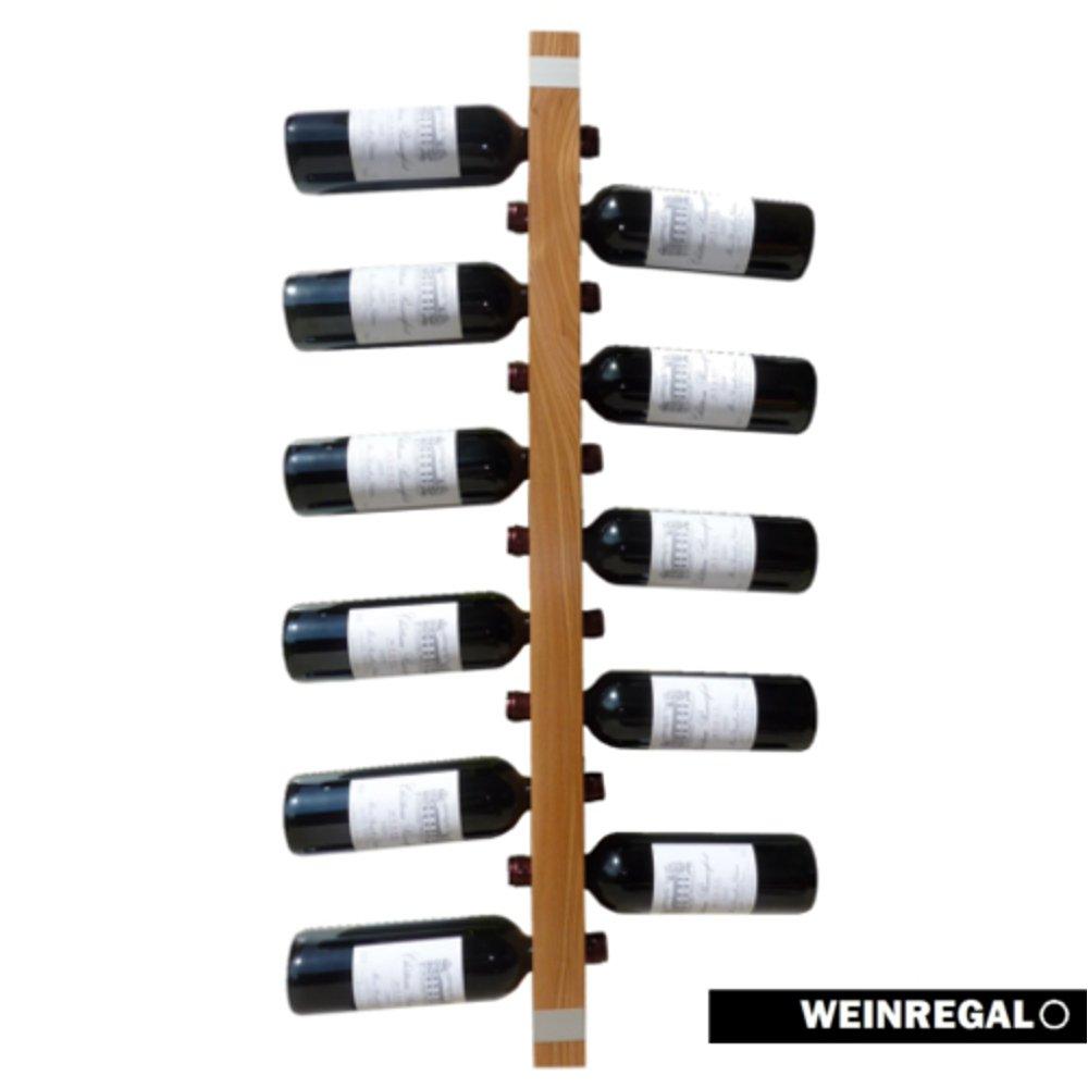 WEINREGALO Ulme   Das moderne Design Weinregal  Flaschenregal aus Holz für Ihre Wand (Flaschenregal für 11 Weinflaschen, 100 x 5 x 5 cm, dekorativ für Wohnzimmer oder Küche)