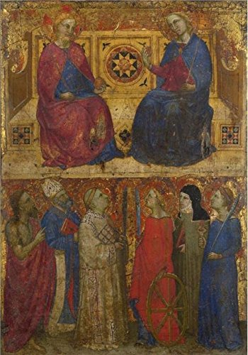The Perfect Effect Canvas Of Oil Painting 'Giovanni Da Milano-Christ And The Virgin Enthroned With Six Saints,about 134850-5' ,size: 16x23 Inch / 41x58 Cm ,this High Definition Art Decorative Prints On Canvas Is Fit For Basement Artwork And Home Decoration And Gifts