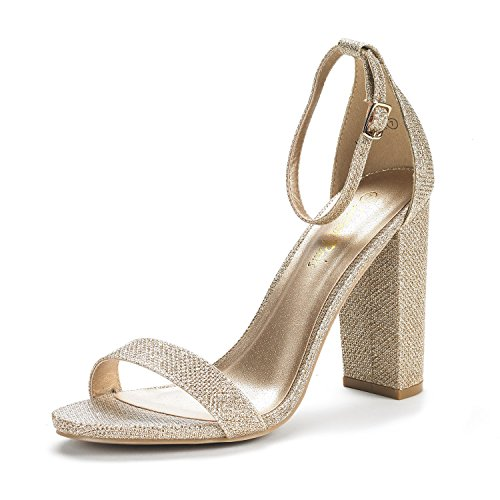 Gold High Heel Pump (Dream Pairs Women's Hi-Chunk Gold Glitter High Heel Pump Sandals - 7 M US)