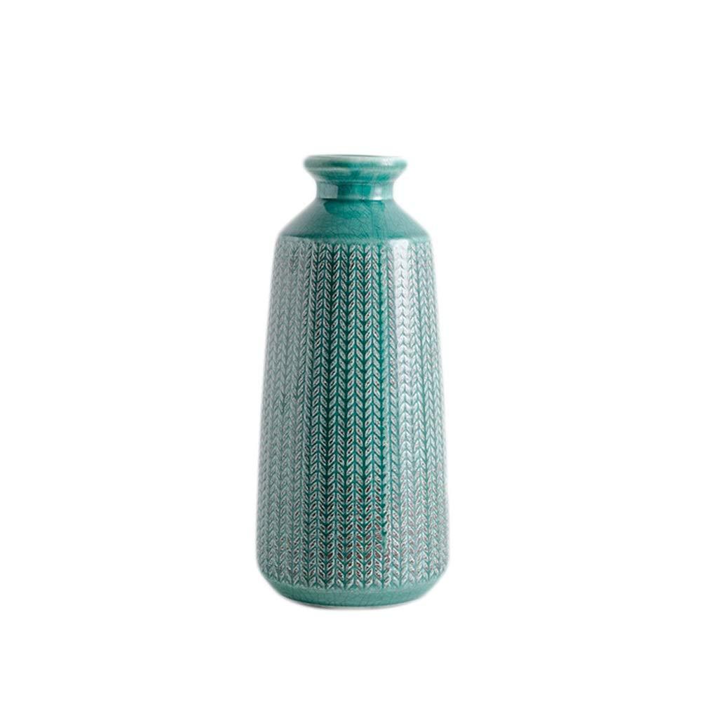 花瓶 セラミック花瓶手作り工芸ひび割れ釉薬パターン挿入ドライフラワーオフィスバルコニー装飾(30 * 13 cm) B07RGGZLG8