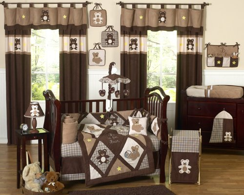Sweet Jojo Designs Chocolate Brown Teddy Bear Baby Boys Bedding 9pc Crib Set