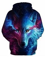 GLUDEAR Unisex Realistic 3D Digital Print Pullover Hoodie Hooded Sweatshirt,Wolf,L/XL