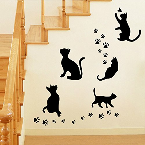 Silhouette Vinyl Wall - BIBITIME Animal Silhouette 5 Black Pussycats Wall Decal Vinyl Butterfly Cat Paw Footprints Stickers for Living Room Porch Pet Lover Living Room Bedroom Nursery Kids Room Decor Home Art Murals