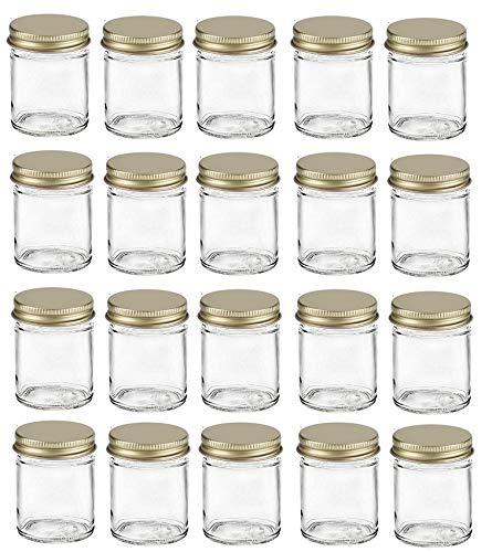 Nakpunar 20 pcs 2 oz Glass Jars with Gold Metal Lid for Creams, Spice, Honey, Jams, Shot Glasses (Gold, 20)