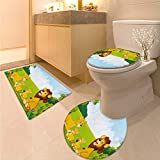 Anhuthree Nursery Bathroom Toilet mat Set Cartoon Style Lion Family in The Forest Africa Savannah Safari Habitat Toilet Carpet Floor mat Green Pale Blue Yellow