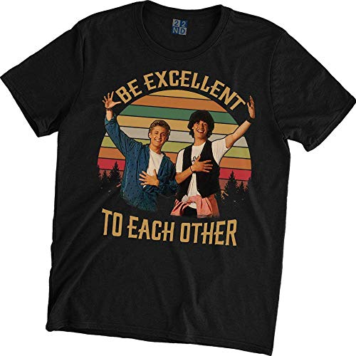 Be Excellent to Each Other Vintage Retro T-Shirt Bill and Ted's Excellent Adventure Black