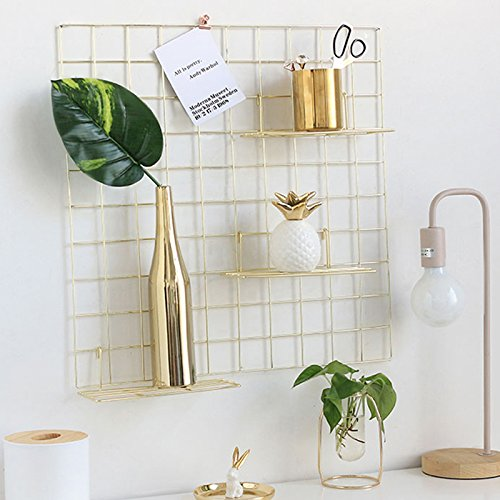 Wire Wall Grid, Multifunctional Jewelry Organizer Metal Frame Mesh Photo Display Rack for Memo Artwork Photograph Gold Bullet by ZONYEO