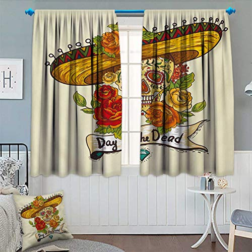 Chaneyhouse Sugar Skull Window Curtain Fabric Skull in a Sombrero Traditional Mexican Culture Theme Roses Day of The Dead Drapes for Living Room 55
