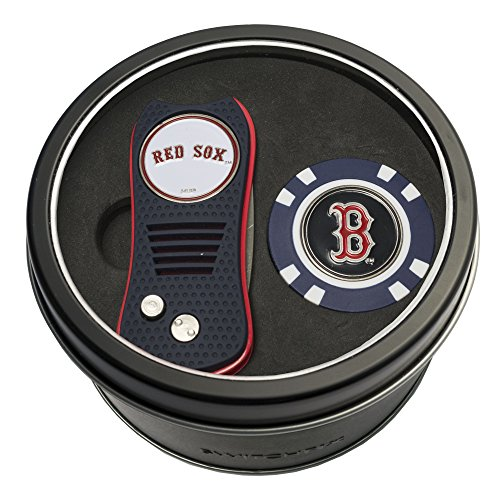 Team Golf MLB Boston Red Sox Gift Set Switchfix Divot Tool & Chip, Includes 2 Double-Sided Enamel Ball Markers, Patented Design, Less Damage to Greens, Switchblade Mechanism ()