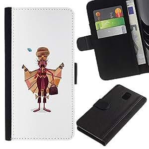 Planetar® Modelo colorido cuero carpeta tirón caso cubierta piel Holster Funda protección Para SAMSUNG Galaxy Note 3 III / N9000 / N9005 ( Sikh Man Art Drawing India Sikhism Attire )