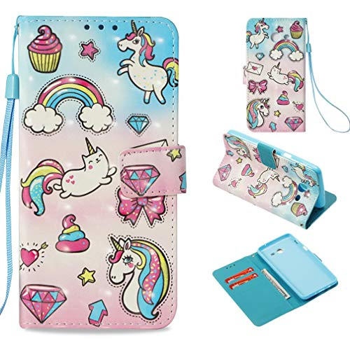 Firefish Galaxy J3 2017 Case,Durable Slim Pu Leather Wallet Case with [3D Printing] Pattern with Inner Silicone Bumper Shockproof Full Cove Case for Girl for Samsung Galaxy J3 2017 -Rainbow Horse (Lsu Watch And Wallet)