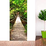 Zhiyu&art decor 3D door sticker bridge Murals Vinyl Removable Retro Art Door Decals 30.3x78.7